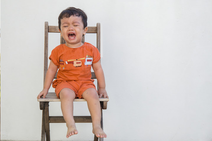 3.5 year old tantrums getting worse sitting on a chair by himself
