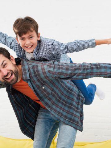 father and son do the airplane for Differential Susceptibility Hypothesis