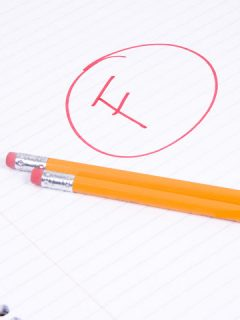 F grade written on notebook