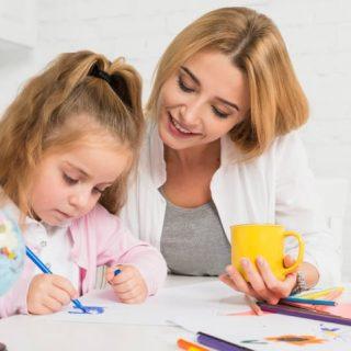 Mom gets kindergartener to do homework