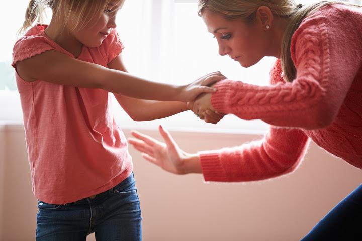 bad mother spanks daughter