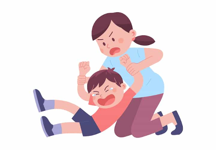 Mom tries to pull son up by his arms. The boy is crying and protesting on the floor resisting. Coercive cycle is predicted by the coercive theory class.