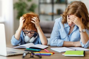 mom and boy are both stressed need coping skills