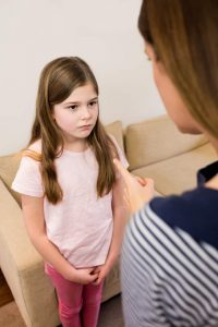 Mom points finger at girl - difference between discipline and punishment