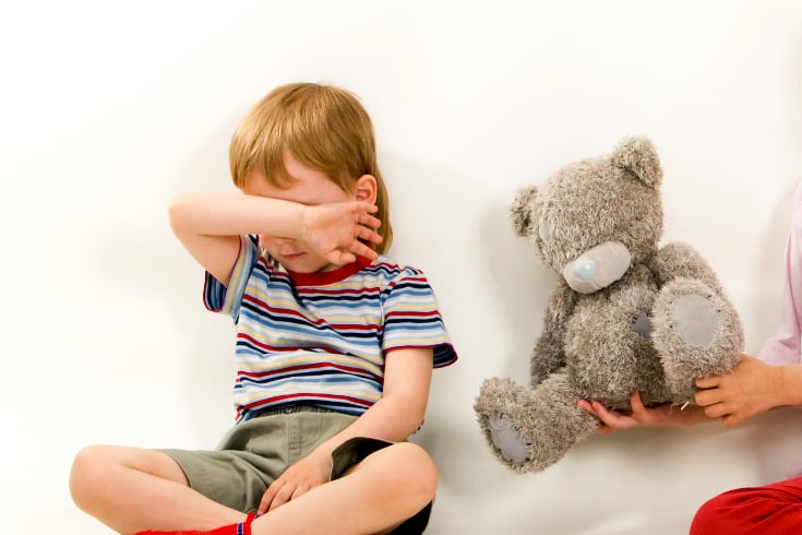 Child cries despite being offered a teddy bear - Discipline and punish summary
