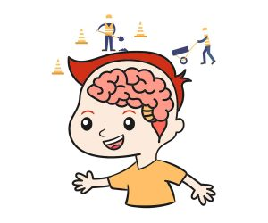 Cartoon of a child with brain being worked on by construction workers - Emotional intelligence