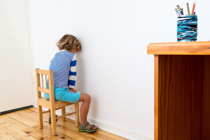 child sits in chair facing the wall. timeouts are examples of shaping in psychology