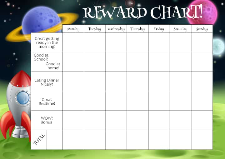 A kid's reward chart with daily routines listed. A chore chart for home is commonly used by parents.