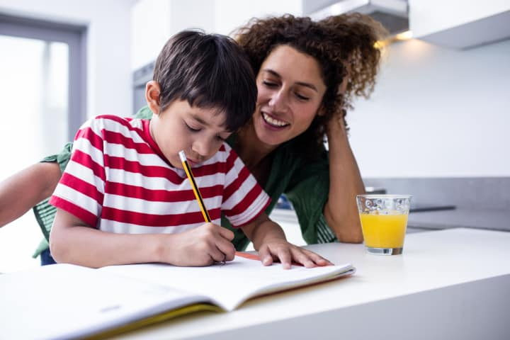 Mom helps son with homework - How to deal with a child that doesn't listen - toddler, 2 year old