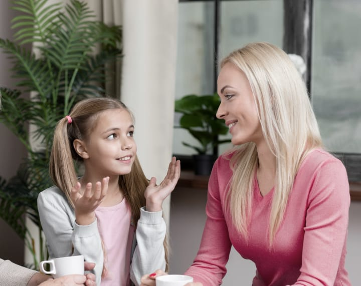 mom reasons with daughter - inductive discipline parenting