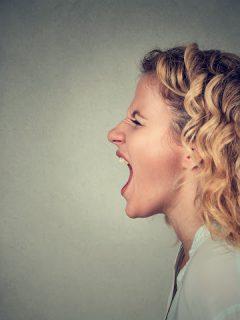 a woman yells