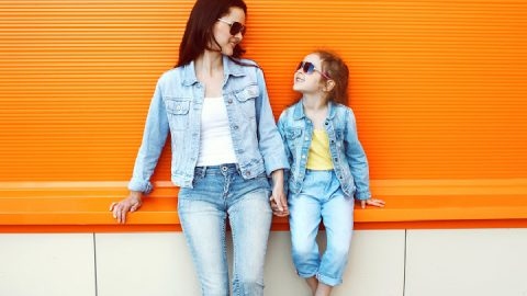 child mimic parent wearing sunglasses showing parenting skills