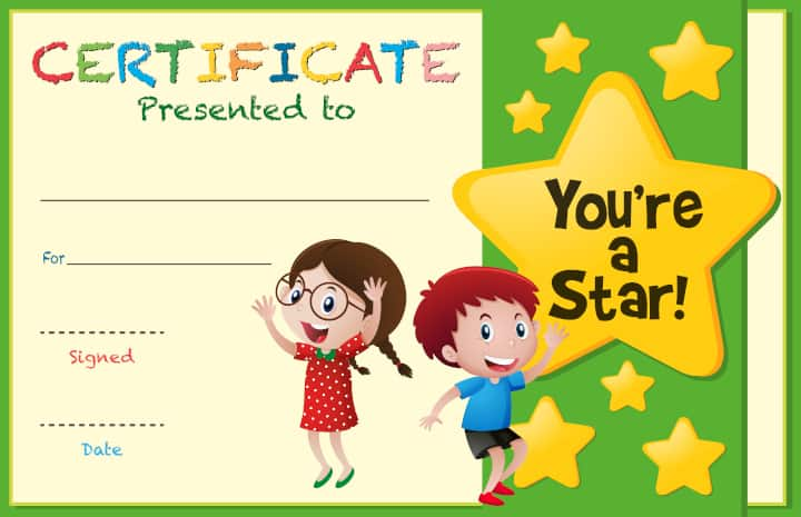 Certificate template with kids and stars - positive reinforcement in the classroom