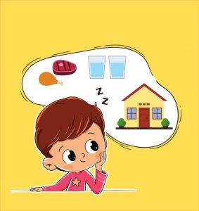 boy thinks about food, water, sleep and house - reinforcer