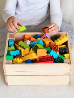 Using shaping psychology, a child learns to put away toys after playing