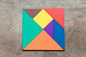 Tangram in multiple color pieces - spatial awareness