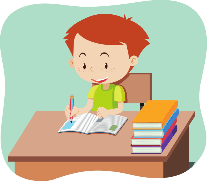 The same boy does homework at ease with a smile because variable interval reinforcement schedules encourage a steady habit of studying.