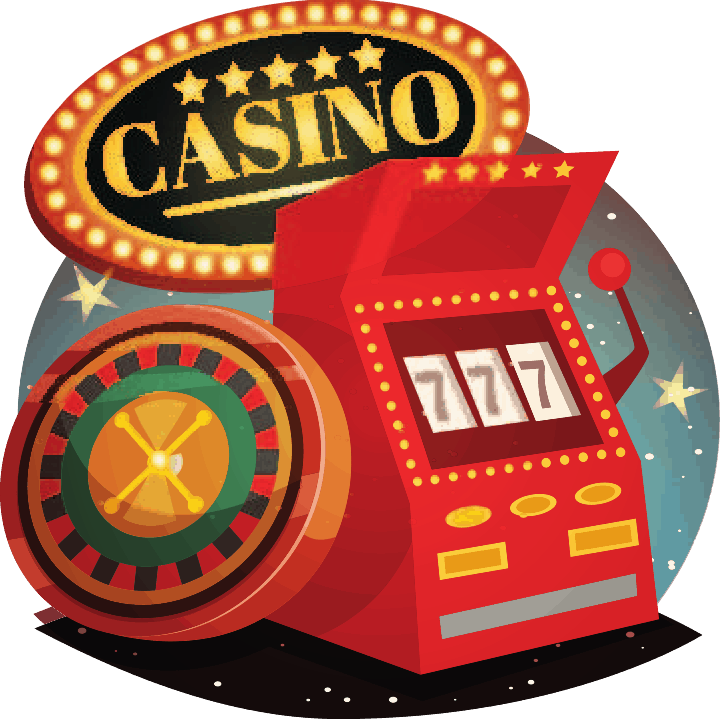 A red slot machine with a Casino sign on top. A variable ratio reinforcement in gambling is powerful in causing an addiction.